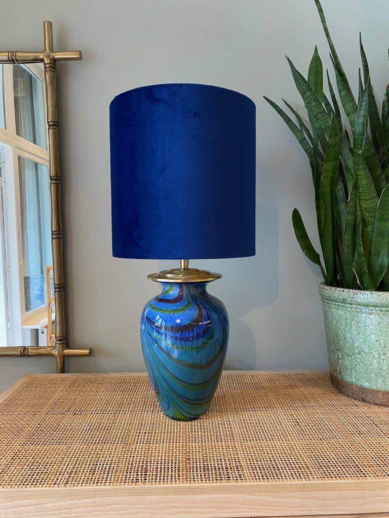 Murano red and blue swirl